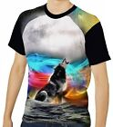 Wolf In Ribbons Of Color Mens T-Shirt Tee wa1 aao40564