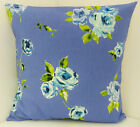 PRETTY FLORAL CUSHION COVER BLUE ROSES FLOWERED SCATTER COVERS SHABBY CHIC STYLE