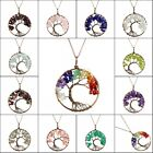 Natural Amethyst Peridot Garnet Chip Beads Tree of Life Round Pendant Necklace