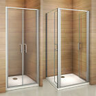 Double 180° Pivot Door Shower Enclosure Tray Glass Screen Cubicle Anti-glare 900