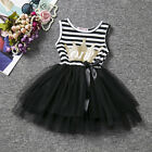 Cute Baby Girl Crown Stripe Birthday Tulle Tutu Dress Party Pageant Sundress
