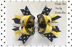Baby/Girl Handmade 6 inch Navy/Yellow/White Fascinator Hair Bow Clip bobble