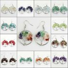Natural Amethyst Tourmaline Chip Beads Tree Of Life Pendant Silver Hook Earrings