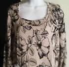 Womens Top Shirt Blouse Flower Butterfly Animal Print Abstract Brown Black beige