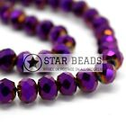 FACETED RONDELLE CRYSTAL GLASS BEADS METALLIC PURPLE 4MM,6MM,8MM,10MM,12MM