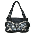 Concealed Carry Rhinestone Skull Metal Color Leather Women's Handbag 2 colors