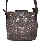 Rhinestone Studded 3D pistols buckle Stlyle Leather Messenger Bag. 3 colors.