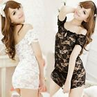 New Women Nightwear Lace Transparent Nightdress G-String Set Off Shoulder Nighty