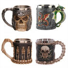 New Resin Stainless Steel 3D Skull Knight Drinking Mug Funny Creative Coffee Cup