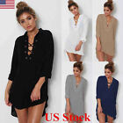 Us Women Lace Up V Neck Long Sleeve Loose Blouse Ladies T Shirt Casual Dress Top