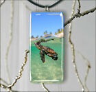 SEA TURTLE BABY FIRST DAYS RECTANGULAR GLASS PENDANT 2 SIZES -jky7Z