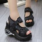 New Womens Fashion Shoes High Platform Wedge Sport Sandals Casual Sneaker Sequin