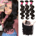 Indian Virgin Hair Body Wave 3 Bundles Human Hair With 360 Lace Frontal Closure