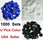 1000 Set KAM Plastic Resin Snaps Crafts T5 White Black Blue for Diapers/Bibs USA