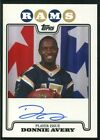 2008 Topps Rookie Premiere Autographs #RPADA Donnie Avery Rookie Card RC Auto