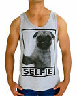 MENS SINGLET TANK TOP PUG SELFIE FASHION CASUAL MUSCLE COMEDY DOGS SWAG BLACK
