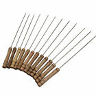 6/10/12Pcs Stainless Steel BBQ Skewers Barbeque Kabob Needle Wood Stick RP4
