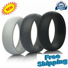 Wedding Silicone Ring Band Rubber 3 PACK Black Grey Comfort Flexible Workout