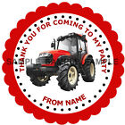 Personalised Red Tractor stickers, 3 Sizes - For Sweet Cones etc Ref MX02-05