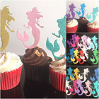 10 x Cupcake Picks Toppers Mermaids - Glitter/Plain Large Birthday Party cutouts