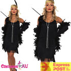 Black 1920s Flapper Charleston Fancy Dress Costume Cigarette Holder Necklace Boa