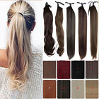 Silk Straight Clip in High Ponytail  100% Remy Human Hair Extension Black Blonde