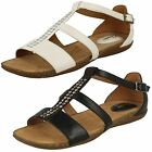 Ladies Clarks Autumn Fresh Strappy T-Bar Leather Sandals