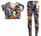Girls Comic Print Crop Top & Legging Set Outfit Kids Clothes Age 7-13 Years