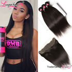 "7A Brazilian Straight Human Hair 3 Bundles With Lace Frontal 13""*4"" Ear to Ear"