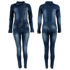Womens Denim Jumpsuit Overall One Piece Stretch Slim Fit Zip Down Blue Wash