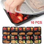 5/10 Pcs Plastic Meal Storage Food Prep Box 3 Compartment Reusable Containers