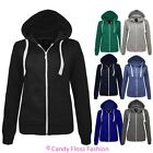 New Womens Ladies Plain Zip Hoodie Sweatshirt Zip Fleece Hooded Jacket Top
