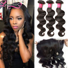 Raw Indian Virgin Human Hair Body Wave 3 Bundles With Lace Frontal Closure 13x4