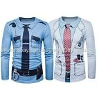 MEN'S UNIFORM TOP T'SHIRT POLICE COP DOCTOR FANCY DRESS COSTUME