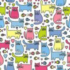 Printed Polyester Cotton - Cats Design - 7222