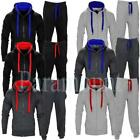 Fashion Contrast Cord Jogging Fleece Hooded Full Tracksuit  Mens Size