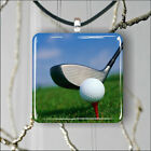 GOLF BALL ON RED TEE PENDANT NECKLACE 3 SIZES CHOICE -kjh77Z