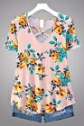 Floral Print Blush Criss Cross Caged Feminine Stretch Tunic Short Sleeve Top