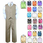 6pc Formal Baby Boy Toddler Khaki Vest Necktie Suit w/ Ex...
