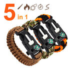 Survival CAMPING Emergency Paracord BRACELET Fire Starter FLINT Compass Whistle