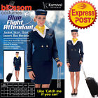 CA224 Blue Flight Attendant Air Hostess Retro 70s Uniform Fancy Dress Up Costume