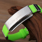Personalized free carving couples Hand catenary Stainless steel bracelet