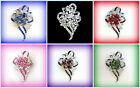PROM JEWELRY GIFT FOR HER~CRYSTAL RHINESTONE FLOWER CORSAGE BROOCH PIN~YOU PICK