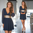 Women Summer Casual Long Sleeve Evening Party Beach Dress Short Mini Dress