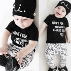 US Infant Newborn Baby Boy Girls Summer T-shirt Tops+Pants Clothes Outfit Set
