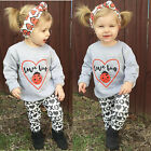 3Pcs Baby Girls Kids Toddler T-Shirt Tops+Pants Outfit Clothing Set US STOCK