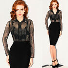 Womens Sexy Bead Embroidered Sheer Mesh Turn Down Collar Casual Top Shirt Blouse