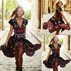 Plus Size Women Vintage Boho Long Maxi Evening Party Dress Summer Beach Sundress