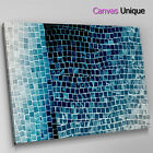 AB1609 blue black tile effect Abstract Canvas Wall Art Framed Picture Print