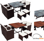 Rattan Cube (9 piece) Garden Home Furniture Dining Table Chairs (UK) PRE-SALE